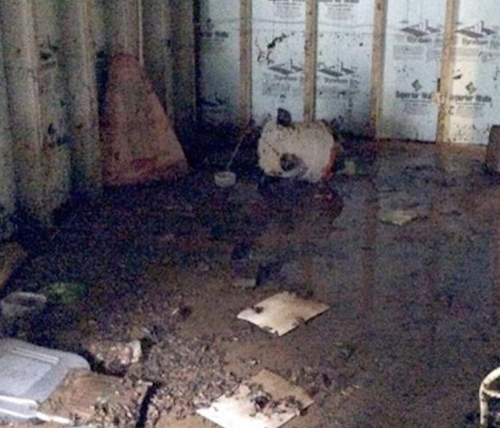 Flood damage occurred in the basement of this Harrisonburg, Virginia home.